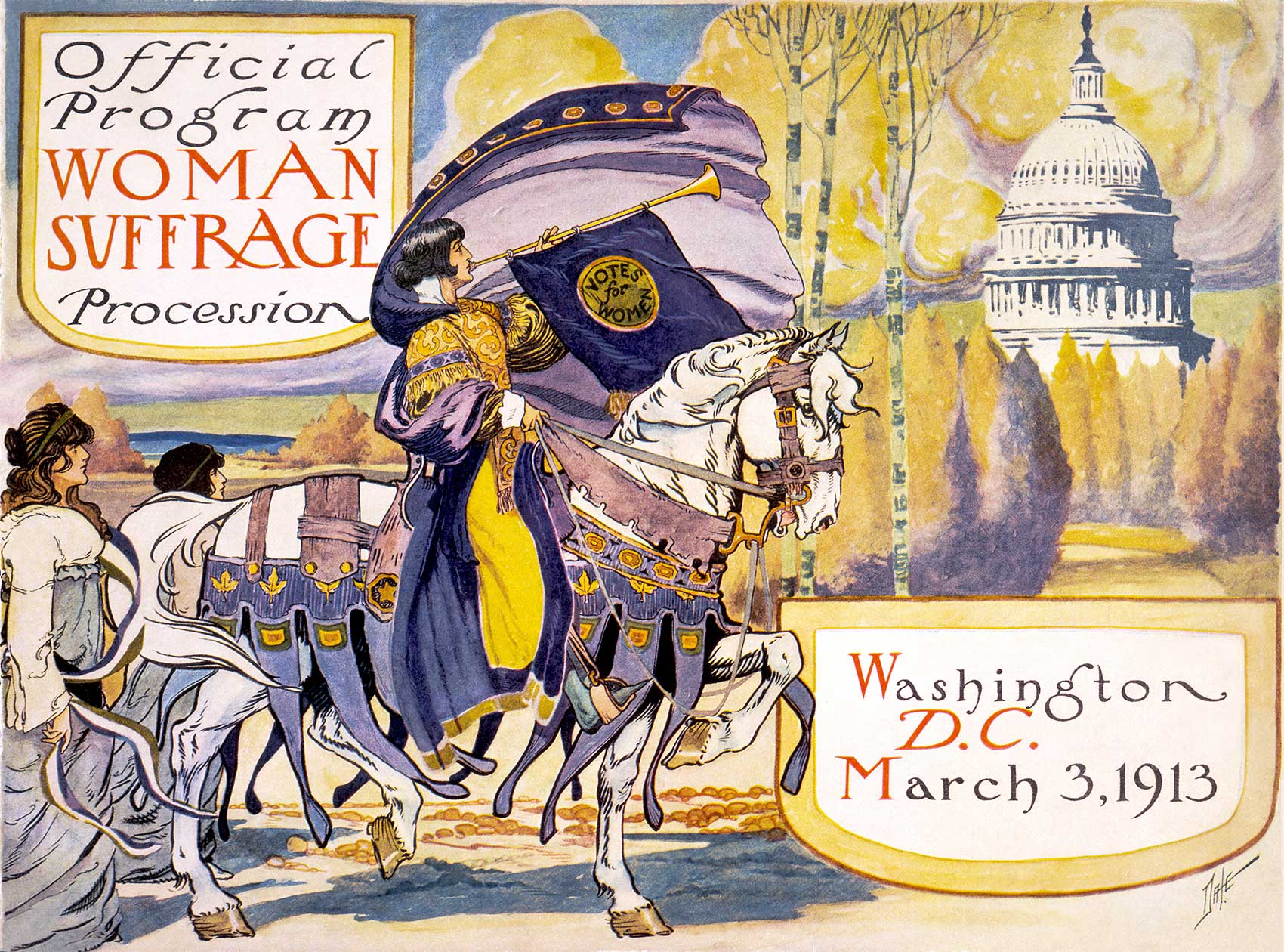 1913 program of the Woman Suffrage Procession in Washington, D.C. showing a woman on a white horse blowing a bugle.