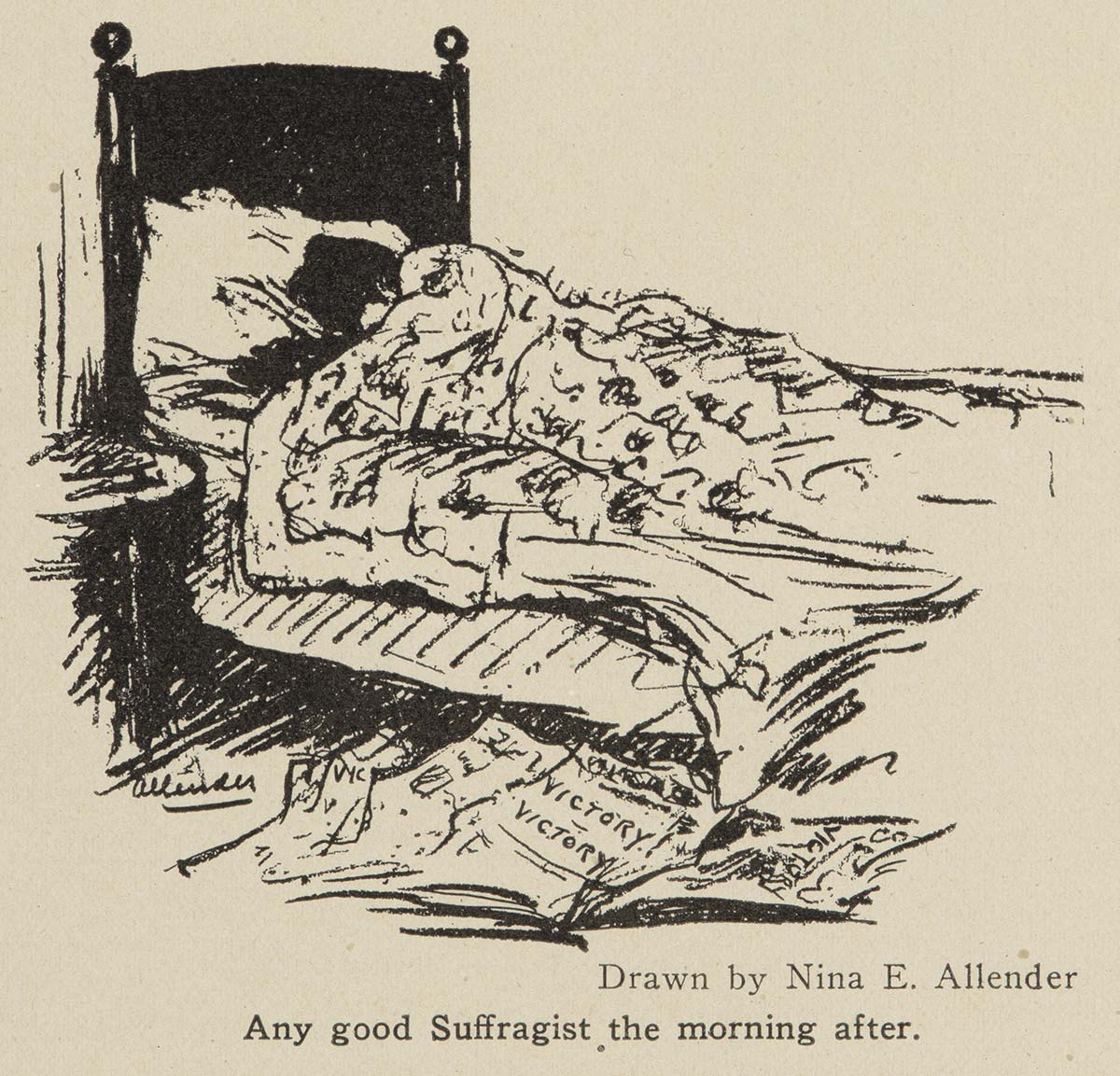 Political illustration of a sleeping suffragist surrounded by newspapers trumpeting the woman suffrage victory with caption Any good Suffragist the morning after. Drawn by Nina E. Allender, captioned: Any good Suffragist the morning after.