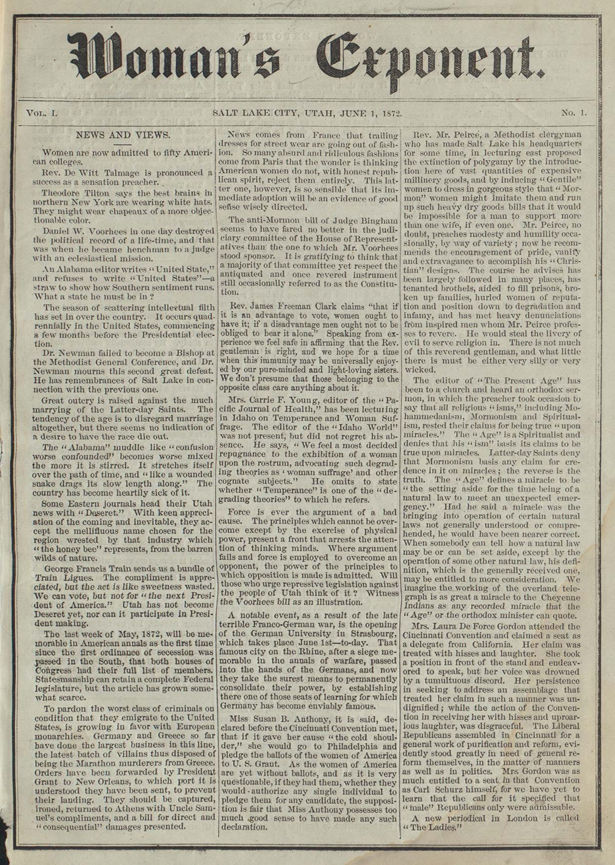 Inaugural 1872 issue of the Mormon women's right newspaper Woman's Exponent.
